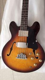 Wholesale Electric Bass Semi Hollow - New Arrival 335 model Semi Hollow Electric Bass Guitar 4 string In Sunburst 170106