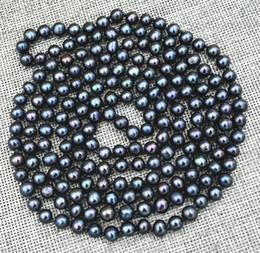 "Wholesale pearl tahiti - Free Shipping >>>>New 7-8mm Black real akoya Tahiti Cultured Pearl Necklace 50"""