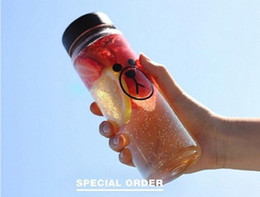 Wholesale Clear Plastic Drinking Cups - HIBOTTLE Brand Sport Style Portable Clear Sport Bicycle My Water Bottle 500ml Space Cup bear Bottles