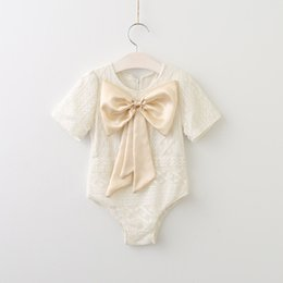 Wholesale Korean Jumpsuit Rompers - 2017 Babies Lace Bow Rompers Infant Baby Girl Princess Bowknot Jumpsuits Bebe Summer Korean romper children's clothing