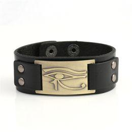 Wholesale Horus Eyes - New Arrival Egyptian Style Antique Brass Plated Ankh Eye Of Horus leather bracelet