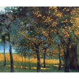 Pinturas a óleo paisagens frutas on-line-Pinturas de paisagens Gustav Klimt Fruit Trees (linha de luxo) arte para decoração de parede pintados à mão óleo sobre tela