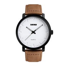 Wholesale Joker Quartz - 2017 Brand Casual Men's Watches Leather Waterproof Simple Joker Fashion Quartz Watch Men Sport Military Army Wristwatch Drop Shipping