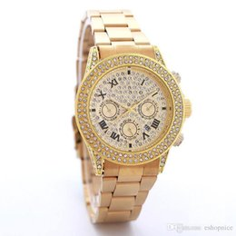 Wholesale Auto Bling - Fashion Rhinestone watches men women luxury brand Bling Diamond Quartz watch Auto Date For mens Ladies Valentine Gift Wtach Wholesale
