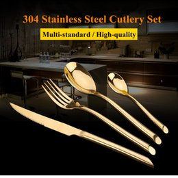 Wholesale Steel Spoon Fork - 24Pcs Set Gold Dinnerware Flatware Set 304 Stainless Steel Dinner Knife Fork Spoon Teaspoon Cutlery Set