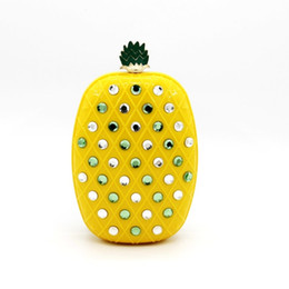 Wholesale Pineapple Purses - Wholesale- Fruit pineapple design yellow color diamonds women handbags small purse day clutches evening bags with chain shoulder bag