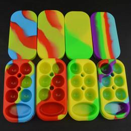 Wholesale Oil Jars - 1pc Silicone 6+1 Non-stick Jars Dab Container Silicon Case For Vaporizer E Cigs Oil Solid FDA Food Grade Silicone Box Wax Container