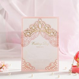 Wholesale Elegant Gold Wedding Invitations - Pink Hollow Gold Foil Shiny Crown Laser Cut Wedding Invitations Elegant Marriage Invitation Card for Guests CW6072