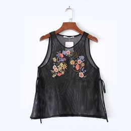 Wholesale Black Tank Top Small - Flower Pattern Black Embroidery Women's Tanks Fashion Mesh Sexy Perspective Top for Women Ladies Bottoming Small Vest Summer Tank Top