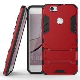 Wholesale Nova Pc - 50pcs Hybrid Armor Phone Back Cover for Huawei Enjoy 6 NCE-AL00 Honor 6X Mate 9 Nova P9 Lite Plus V8 PC+TPU Anti-knock Case with Stand