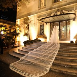 Wholesale Cathedral Veil 5m - Long Wedding Veils 2016 High Quality Cheap Tulle Lace Applique 5M Bridal Veils For Wedding Accessories Cathedral Train Custom Made EN12206