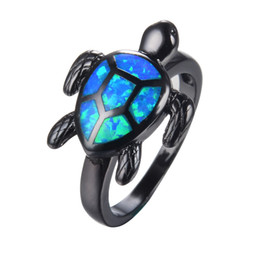 Wholesale Vintage Gold Fire Opal Ring - Wholesale- Unique Turtle Blue Fire Opal Animal Rings For Women Wedding Band Fashion Jewelry Vintage Black Gold Filled Cocktail Ring RB1034