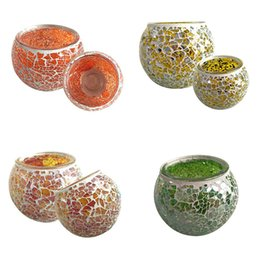 Wholesale Mosaic Style Glasses - 9*7CM Spherical Glass Mosaic Crack Candlestick european style Candle Holders green yellow orange candlelight dinner Candle Holders