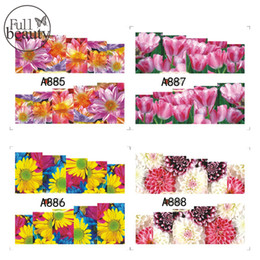 Wholesale Gold Water Decals Nail - Wholesale- Full Beauty Gold & Red & Pink Flower Water Nail Decal Art Stickers Tips Decal The Colorful Pattern Full Cover Manciure A885-888