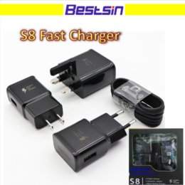 Wholesale Eu Uk Travel - S8 Fast Charger and 1.2M Type-C USB Cable S8 Travel Adapter Adaptive Fast Charging With Logo for S8