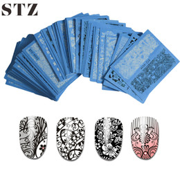 Wholesale Nails Sheet - Wholesale-STZ 24 Sheet sets DIY Nail Vinyls 24sylesHollow Irregular Stencils Stamp Nail Art DIY Manicure Sticker Laser Silver STZK01-24