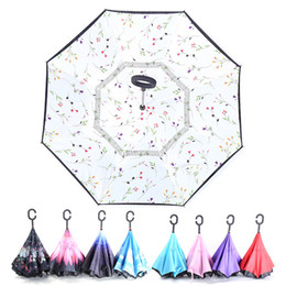 Wholesale Iron Out Wholesale - Colorful Creative Inverted Umbrellas Double Layer With C Handle Inside Out Reverse Windproof Rainy & Sunny Umbrella Self Standing