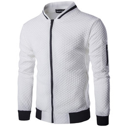 2021 cadono uomini di tendenza della moda All'ingrosso-New Trend White Jacket Uomo Veste Homme 2016 Bomber Moda uomo Slim Fit Argyle Zipper Varsity Giacca Casual Jacket For Fall