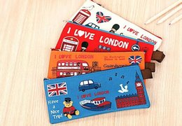 london cases Promo Codes - Wholesale- 4COLORS Kawaii 19CM Retro London Oxford Kids School Pen Pencil BAG Case Pouch ; Coin Purse BAG & Wallet Coin Pouch BAG Case