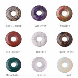 Wholesale Gemstone Coin Beads - Wholesale Natural 40MM Gemstone Crystal Coin Pendant semi precious stone Lucky Beads Button for women Men Jewelry Necklace