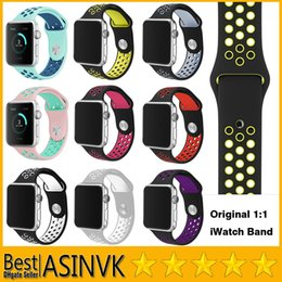 Wholesale Silver Silicone Bracelets - Newest High quality Original 1:1 iWatch Band for Apple Watch Sport Buckle Bracelet Silicone Double Colors Band