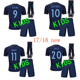 Wholesale Red Soccer Socks Boys - 17 18 kids World Cup Soccer jersey Kits england ROONEY KANE STURRIDGE STERLING HENDERSON VARDY 2018 away child with socks Football shirts
