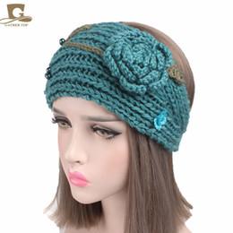 Wholesale Crochet Rose Headband - 2017 New Women Ear Warmer Headwrap Fashion Crochet Headband with Crochet 3D Rose Knit Flower Hairband