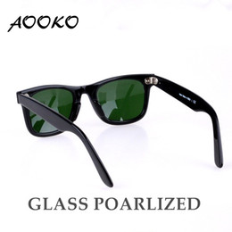Wholesale Leather Framed Glasses - AOOKO Brand Designer Sunglasses for Women Fashion High Quality Men Polarized Glass Lens with Leather Classical Sunglasses Box 50 54MM