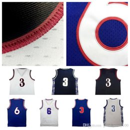 Wholesale Men Shirt Fabric - Free shipping Throwback Allen Iverson Jersey #6 julius erving Jersey 100% Stitched embroidery shirts high quality Mesh fabric