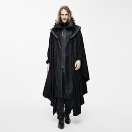 Wholesale Cape Overcoat - Wholesale- Devil Fashion Steampunk Men Long Cloak Coats Punk Gothic Halloween Dark Vampire Count Bat Cape Casual Hooded Loose Overcoats
