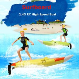 Wholesale Large Electric Rc Boats - Wholesale- Top sail Great Wall 2310 4CH High Speed large RC Surf Boat Surfer Surfboard Electric Remote Control Boats Ship Model Toy As Gift