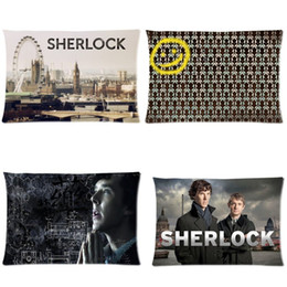 Wholesale Weave London - Wholesale- Pillow Case Sherlock Holmes Benedict Cumberbatch Martin Freeman London Big Ben Throw Pillowcase Invisible Zippered Twin Sides P