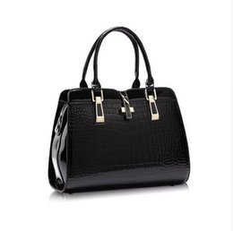 Wholesale Vintage Patent Leather Bags - 2017 new fashion Europe women leather handbags PU handbag leather women bag patent handbag free shopping