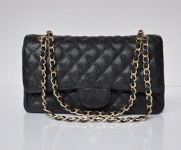 Wholesale Diamond Lattice Chain Handbag - High Quality women's Brand Letter Caviar leather Handbag 25.5CM Double Flap Bag Fashion Shoulder Bags Plaid Chain Bag with gold hardware