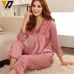 Wholesale Womens Satin Pajamas Xl - Wholesale- Womens Silk Satin Pajamas Set Pajama Pyjamas Set Sleepwear Loungewear M, L, XL, 2XL, 3XL Plus Solid 5Colors Accept Customized