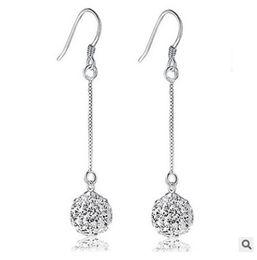Wholesale Long Diamond Earrings Wedding - 30% 925 silver Female temperament princess ball Shambhala earrings earrings explosion models tassels long section of diamond-studded crystal