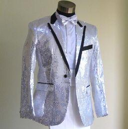 Wholesale Wedding Coat Designs For Men - Wholesale- Sequins silver blazer men formal dress latest coat pant designs suit men blazer masculino marriage wedding suits for men's