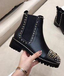 Wholesale Short Leather Cowboy Boots - 2017 new Arrivals fall Fashion Womens black real leather Gold silver tone multi spike embellished cap toe short biker Martin Ankle boots