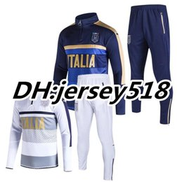 Wholesale Training Suits Wholesale - 17 18 Italy survetement jacket Training suit soccer Jersey PIRLO El Shaarawy Balotelli Verratti MARCHISIO tracksuits football shirts