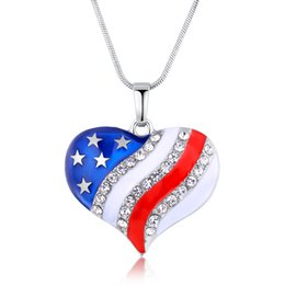 Wholesale Flag Necklaces - Enamel American National Flag Crystal Heart Pendant Necklace Fashion Jewelry Independence Day Gift for Women DROP SHIP 162344
