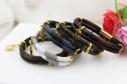 Wholesale Double Leather Charms Bracelet - 2017 new fashion double accessories small lock pendant leather bracelet 316L titanium steel magnetic buckle leather rope bracelet
