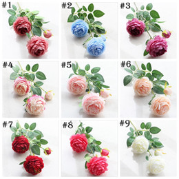 Wholesale Peony Gifts - 9 Color Artificial Flowers Roses Peony Three Flower Heads Garden Wedding Party Decoration Simulation Fake Flower Head Christmas Gift YYA697