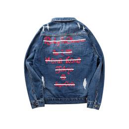 Wholesale Ladies Torn Jeans - Graffiti letter man torn cowboy jacket men 2017 print jeans lady jacket hip hop casual cotton blue bike jeans jacket