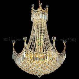 Wholesale pendant light iron - NEW Gold Crystal Pendant Light Lighting Modern Chrome Crystal Pendant Lights Fixture (Width 60cm or 76cm) MYY