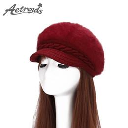boinas de malha por atacado Desconto Atacado- [AETRENDS] 2016 New Rabbit Fur Beanies Beret Mulheres Boinas de malha com veludo dentro de chapéus para mulher Z-3865