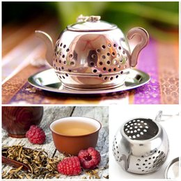 Wholesale Teapot Shape Tea Strainer - New Arrivel Loose Teapot Shape Tea Leaf Infuser With Tray Stainless Steel Tea Strainer Lovely Convenient Spice Drinking Strainer Herbal Filt