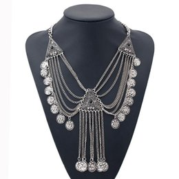 Wholesale Triangle Gem - 2017 Fashion Vintage Flower Necklace Silver Plated Triangle Set Gem MultiLayer Bohemian Circle Tassel Statement Necklace for Women Jewelry