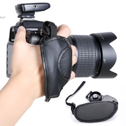 Wholesale Hand Strap For Dslr Camera - Black Camera Hand Grip SLR DSLR Leather Wrist Strap For Canon EOS Nikon Sony Olympus 2994