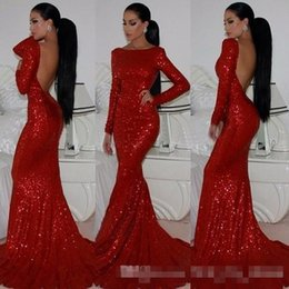Wholesale Long Sleeve Bandage Dress Backless - 2016 Hot Sell Bling Bling Red Sequins Evening Dresses Bateau Neck Long Sleeve Backless Mermaid Sexy Formal Prom Party Gowns Custom Made