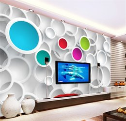 Wholesale Vintage Ship Decor - Modern 3D Wallpaper Personalized custom Photo wallpaper Colorful Circles Wall Mural Room decor Living Room Bedroom Home decoration Free ship